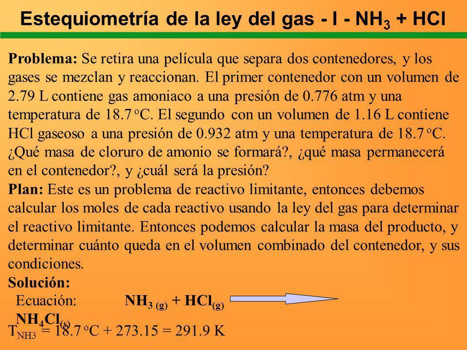 Estequiometría de la ley del gas - I - NH 3 + HCl Problema: Se retira una película que separa dos contenedores, y los gases se mezclan y reaccionan. E