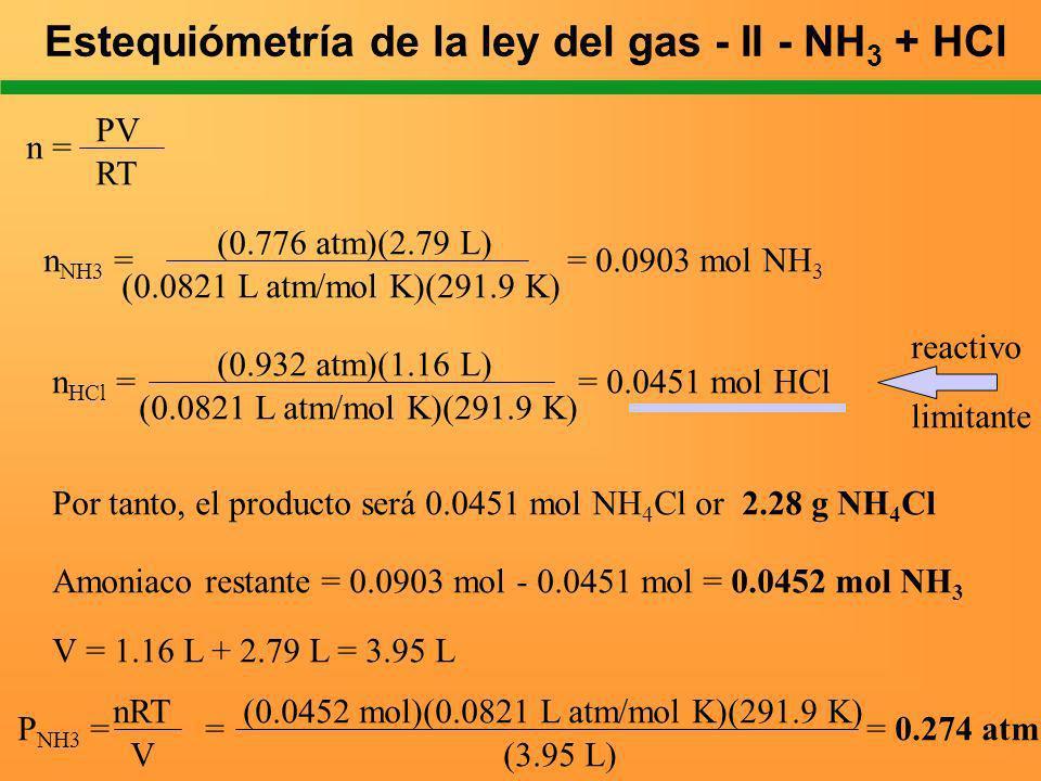 n = PV RT n NH3 = = 0.0903 mol NH 3 (0.776 atm)(2.79 L) (0.0821 L atm/mol K)(291.9 K) n HCl = = 0.0451 mol HCl (0.932 atm)(1.16 L) (0.0821 L atm/mol K
