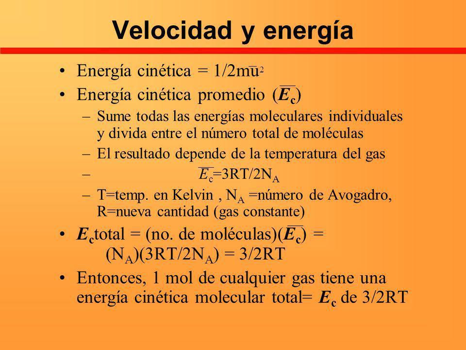 Velocidad y energía Energía cinética = 1/2mu 2 Energía cinética promedio (E c ) –Sume todas las energías moleculares individuales y divida entre el nú