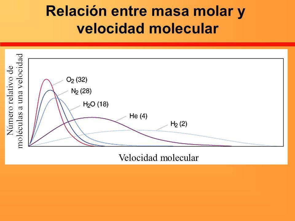 Relación entre masa molar y velocidad molecular Velocidad molecular Número relativo de moléculas a una velocidad