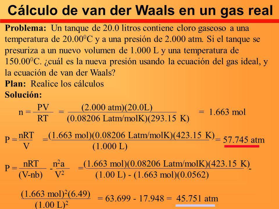 Cálculo de van der Waals en un gas real Problema: Un tanque de 20.0 litros contiene cloro gaseoso a una temperatura de 20.00 0 C y a una presión de 2.
