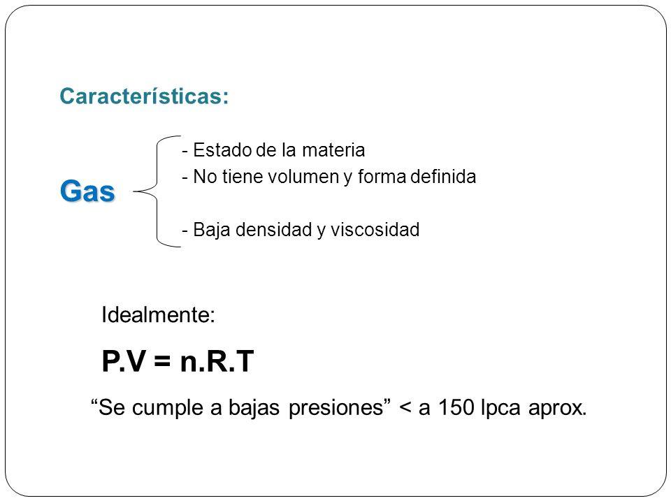 Gas - Estado de la materia - No tiene volumen y forma definida - Baja densidad y viscosidad Idealmente: P.V = n.R.T Se cumple a bajas presiones < a 150 lpca aprox.