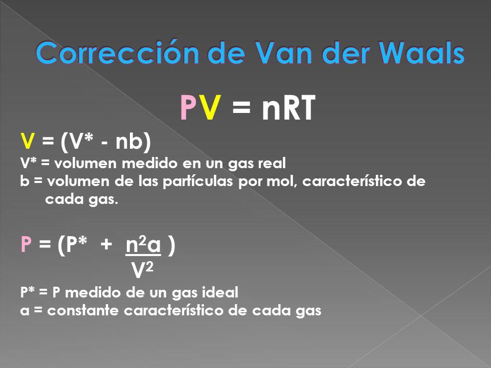 PV = nRT V = (V* - nb) V* = volumen medido en un gas real b = volumen de las partículas por mol, característico de cada gas. P = (P* + n 2 a ) V 2 P*