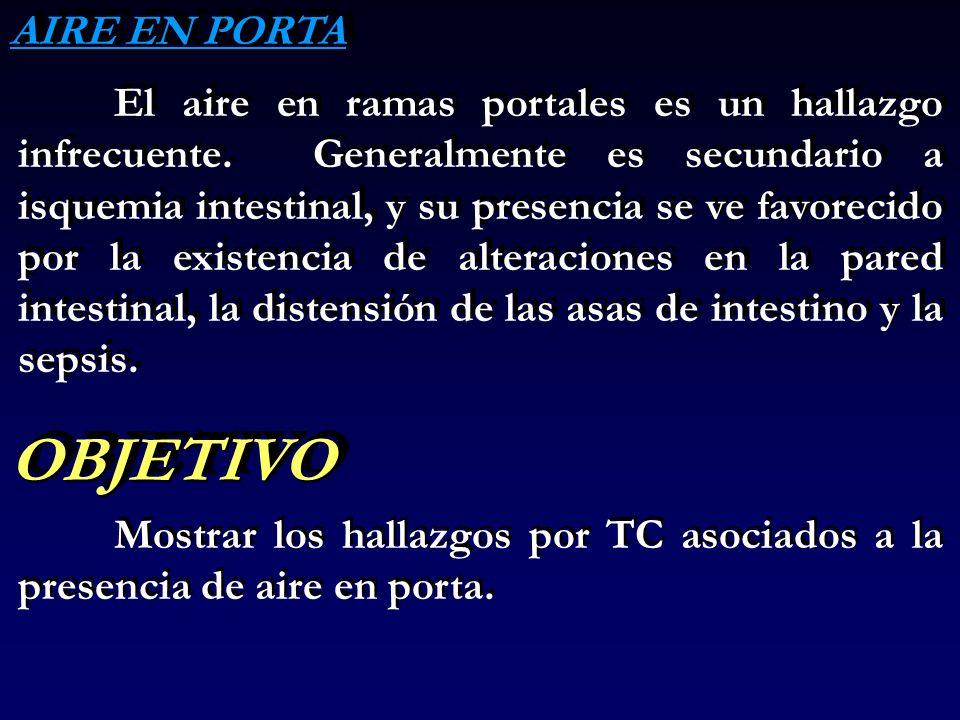MATERIAL Y METODOS ESTUDIO RETROSPECTIVO DE LOS HALLAZGOS POR TC EN 9 PACIENTES CON AIRE EN PORTA.