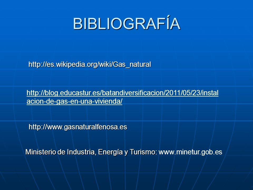BIBLIOGRAFÍA http://blog.educastur.es/batandiversificacion/2011/05/23/instal acion-de-gas-en-una-vivienda/ http://es.wikipedia.org/wiki/Gas_natural ht