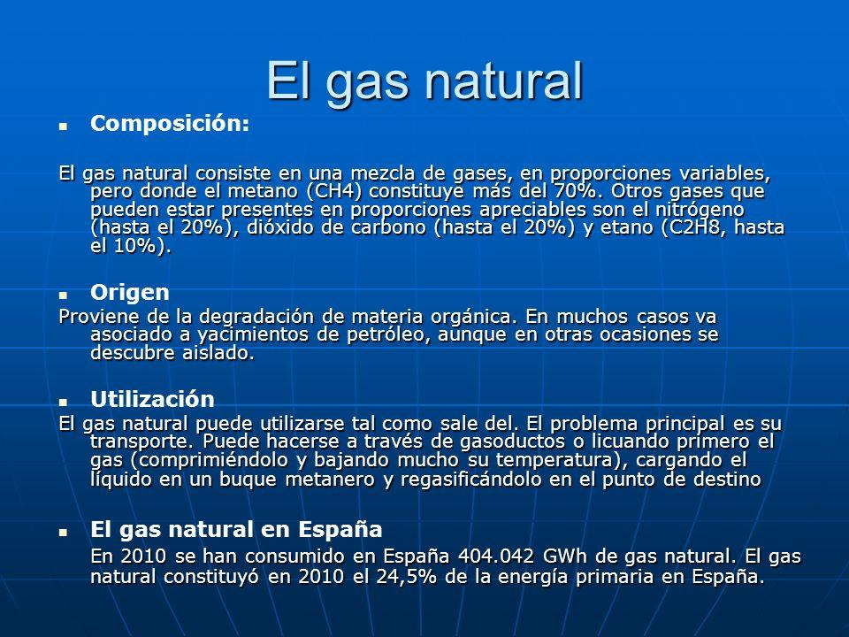 El gas natural Composición: El gas natural consiste en una mezcla de gases, en proporciones variables, pero donde el metano (CH4) constituye más del 7