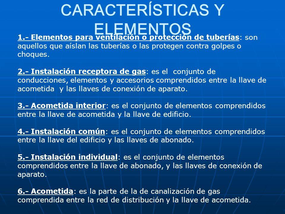 CARACTERÍSTICAS Y ELEMENTOS 1.- Elementos para ventilación o protección de tuberías: son aquellos que aíslan las tuberías o las protegen contra golpes