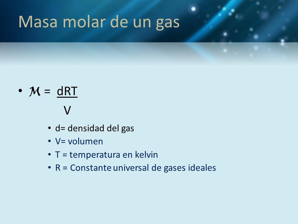 Masa molar de un gas M = dRT V d= densidad del gas V= volumen T = temperatura en kelvin R = Constante universal de gases ideales