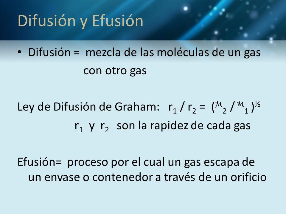 Difusión y Efusión Difusión = mezcla de las moléculas de un gas con otro gas Ley de Difusión de Graham: r 1 / r 2 = ( M 2 / M 1 ) ½ r 1 y r 2 son la r