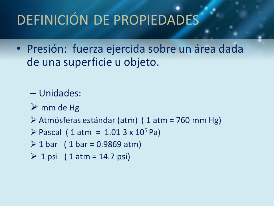 DEFINICIÓN DE PROPIEDADES Presión: fuerza ejercida sobre un área dada de una superficie u objeto. – Unidades: mm de Hg Atmósferas estándar (atm) ( 1 a