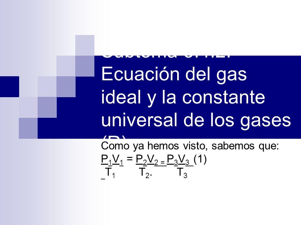 Subtema 5.4.2.Ecuación del gas ideal y la constante universal de los gases (R).