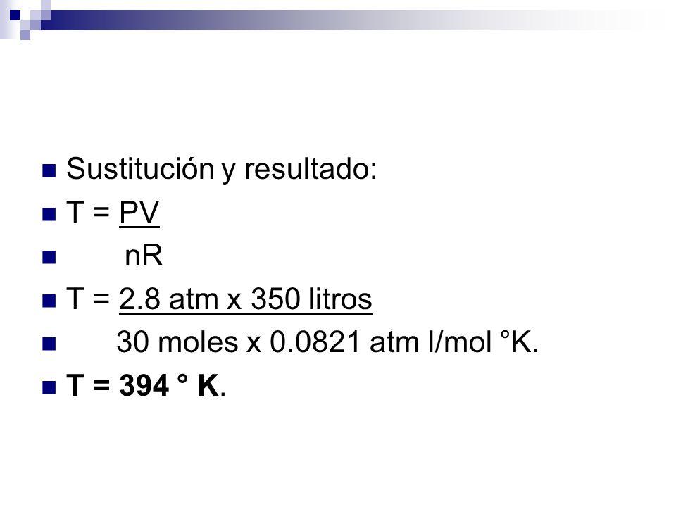 Sustitución y resultado: T = PV nR T = 2.8 atm x 350 litros 30 moles x 0.0821 atm l/mol °K.
