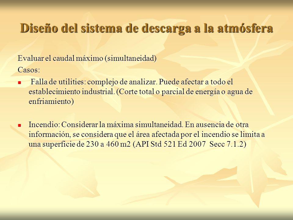 Evaluar el caudal máximo (simultaneidad) Casos: Falla de utilities: complejo de analizar. Puede afectar a todo el establecimiento industrial. (Corte t