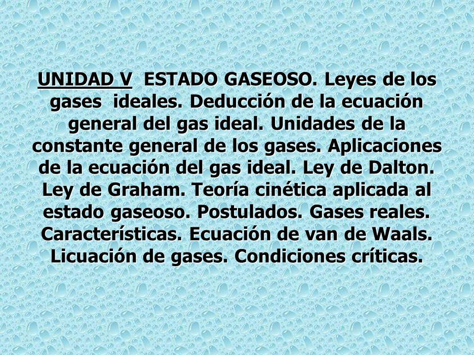 UNIDAD V ESTADO GASEOSO.Leyes de los gases ideales.
