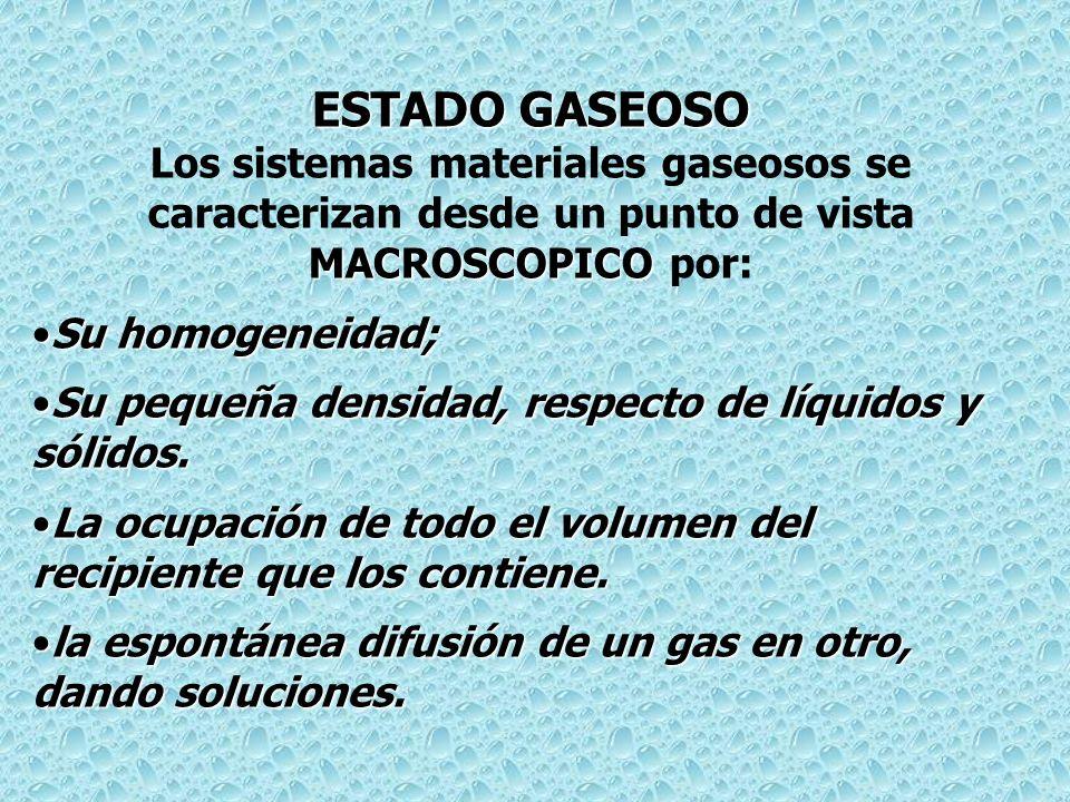 ESTADO GASEOSO MACROSCOPICO Los sistemas materiales gaseosos se caracterizan desde un punto de vista MACROSCOPICO por: Su homogeneidad;Su homogeneidad; Su pequeña densidad, respecto de líquidos y sólidos.Su pequeña densidad, respecto de líquidos y sólidos.