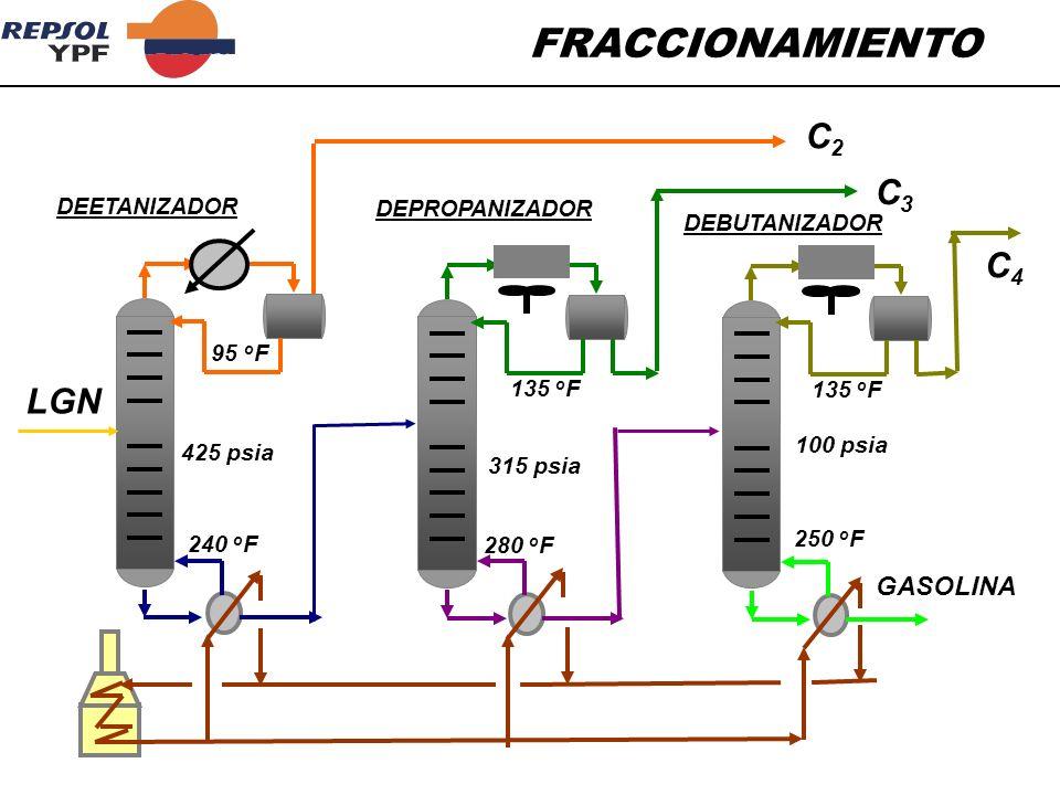 FRACCIONAMIENTO LGN C2C2 C3C3 C4C4 GASOLINA 425 psia 315 psia 100 psia 95 o F 240 o F 135 o F 280 o F 135 o F 250 o F DEETANIZADOR DEPROPANIZADOR DEBU