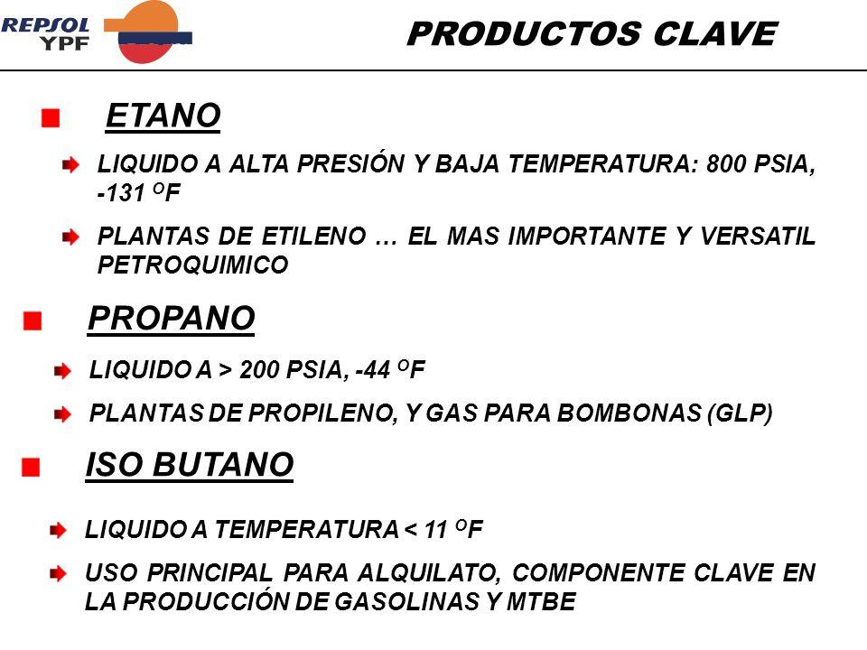 PRODUCTOS CLAVE LIQUIDO A ALTA PRESIÓN Y BAJA TEMPERATURA: 800 PSIA, -131 O F PLANTAS DE ETILENO … EL MAS IMPORTANTE Y VERSATIL PETROQUIMICO ETANO LIQ