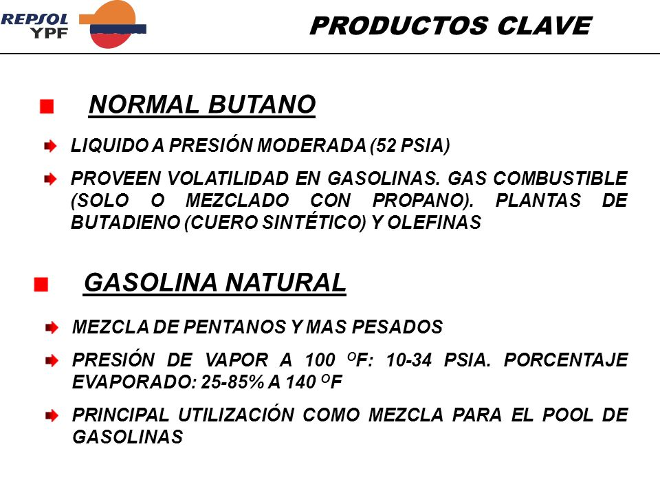 PRODUCTOS CLAVE LIQUIDO A PRESIÓN MODERADA (52 PSIA) PROVEEN VOLATILIDAD EN GASOLINAS. GAS COMBUSTIBLE (SOLO O MEZCLADO CON PROPANO). PLANTAS DE BUTAD