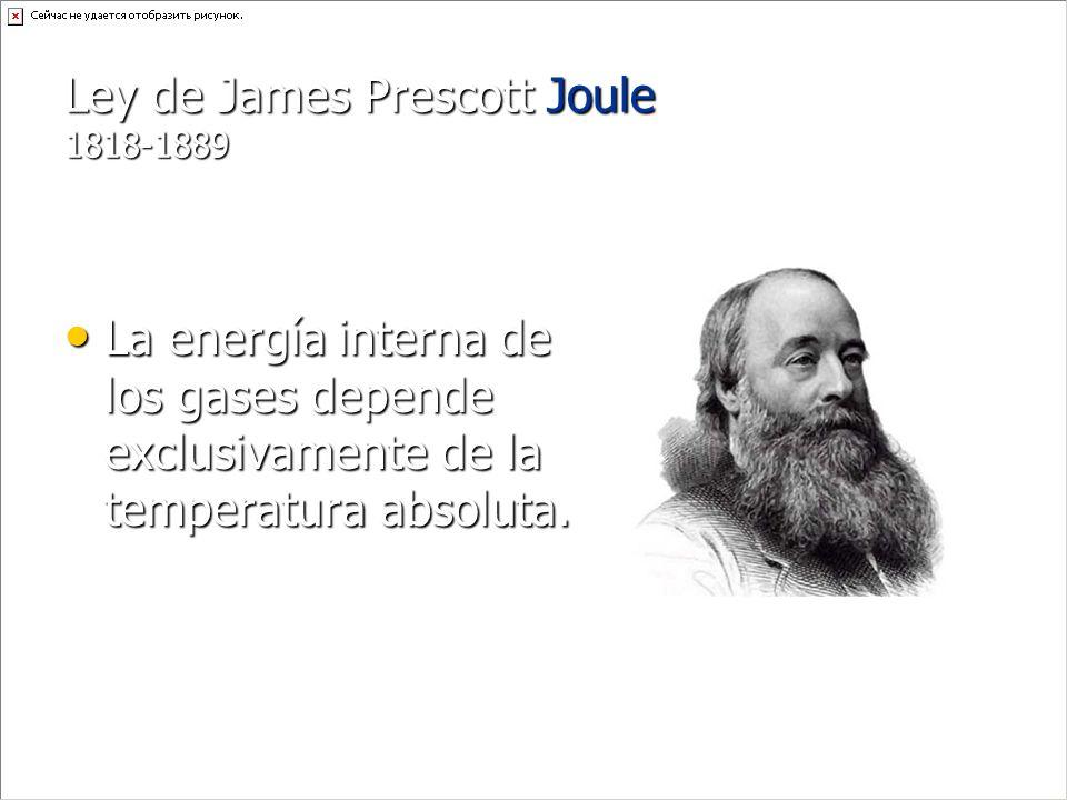 Ley de James Prescott Joule 1818-1889 La energía interna de los gases depende exclusivamente de la temperatura absoluta. La energía interna de los gas