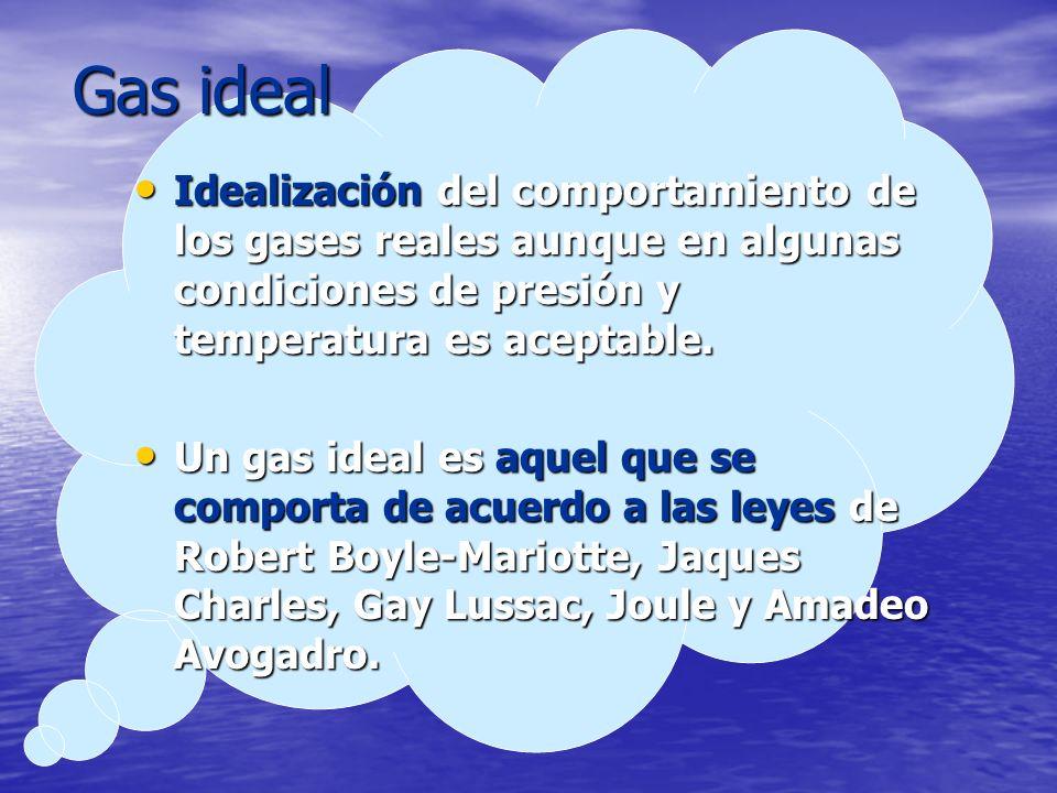 Gas ideal Idealización del comportamiento de los gases reales aunque en algunas condiciones de presión y temperatura es aceptable. Idealización del co