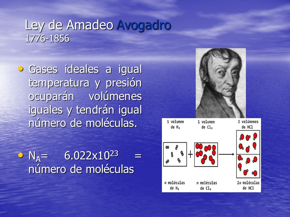 Ley de Amadeo Avogadro 1776-1856 Gases ideales a igual temperatura y presión ocuparán volúmenes iguales y tendrán igual número de moléculas. Gases ide