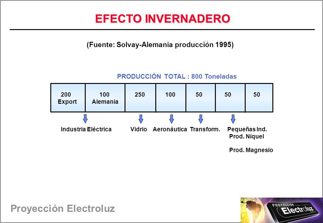Proyección Electroluz (Fuente: Solvay-Alemania producción 1995) 200 100 250 100 50 50 50 Export Alemania Industria Eléctrica Vidrio Aeronáutica Transform.