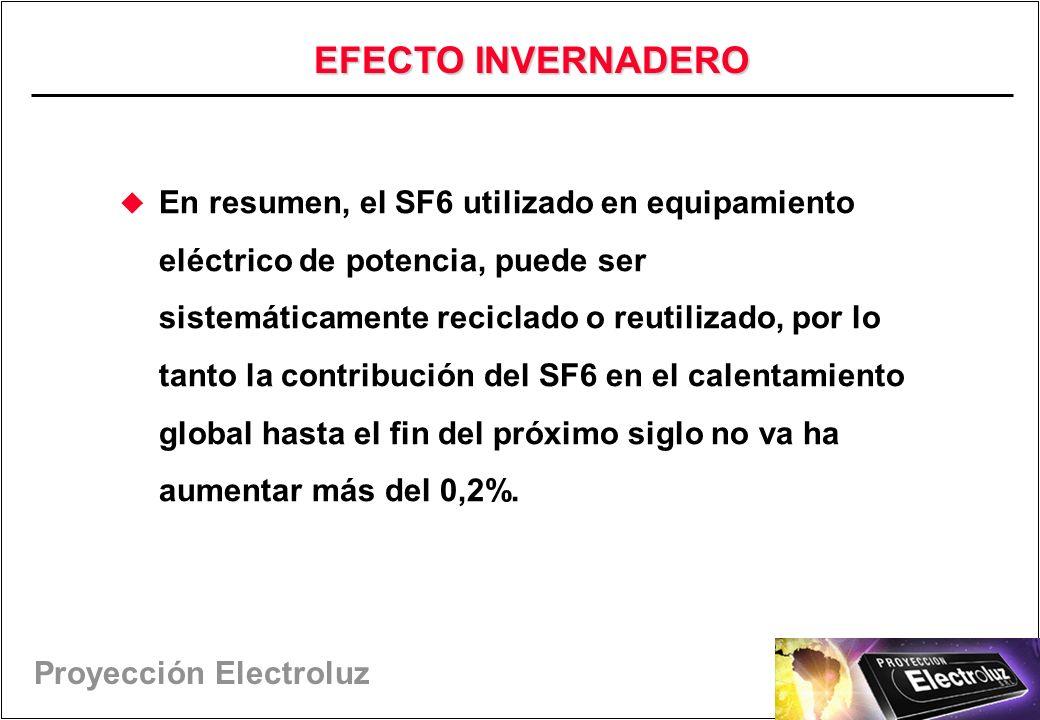 Proyección Electroluz En resumen, el SF6 utilizado en equipamiento eléctrico de potencia, puede ser sistemáticamente reciclado o reutilizado, por lo tanto la contribución del SF6 en el calentamiento global hasta el fin del próximo siglo no va ha aumentar más del 0,2%.