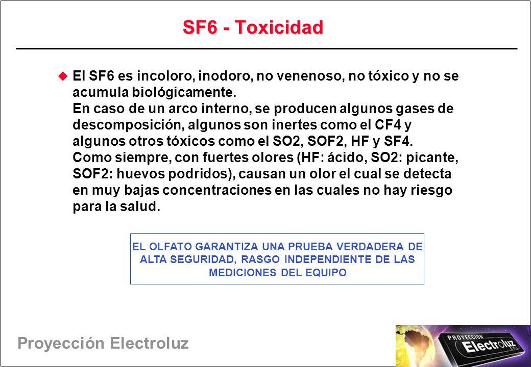 Proyección Electroluz SF6 - Toxicidad El SF6 es incoloro, inodoro, no venenoso, no tóxico y no se acumula biológicamente.