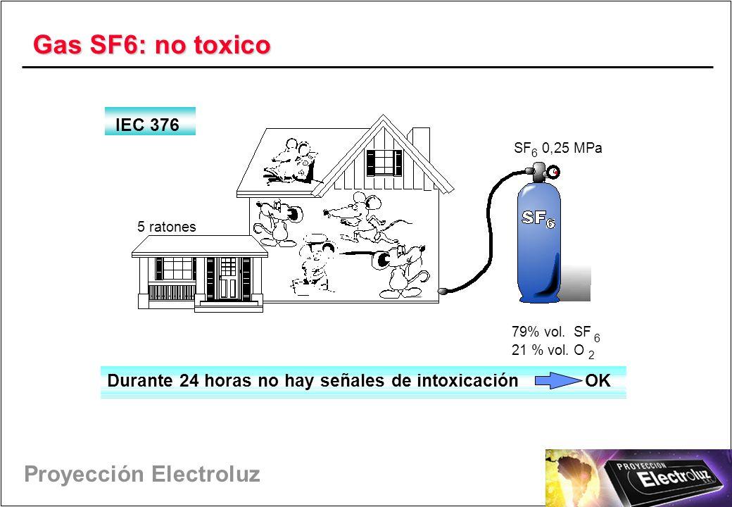 Proyección Electroluz Gas SF6: no toxico Durante 24 horas no hay señales de intoxicación OK SF 6 0,25 MPa 79% vol.