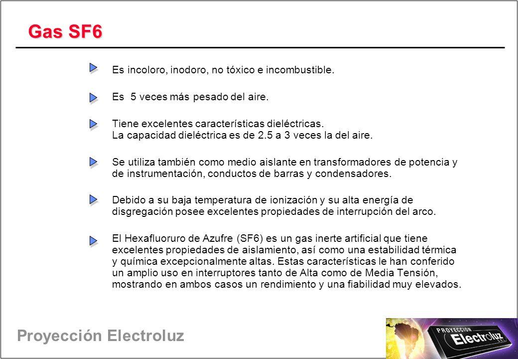 Proyección Electroluz Gas SF6 Es incoloro, inodoro, no tóxico e incombustible.