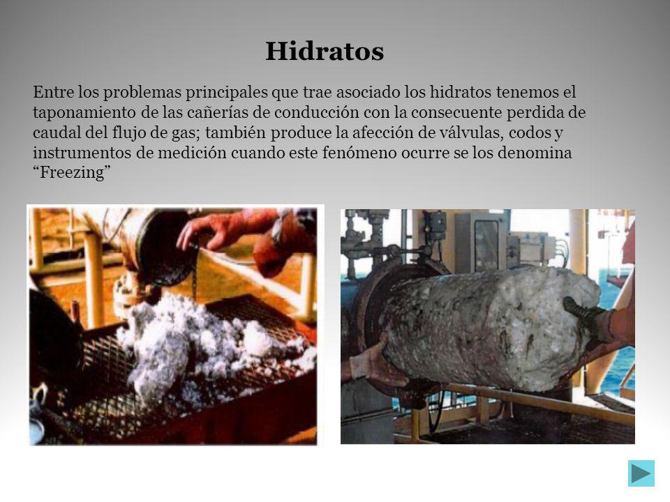 Entre los problemas principales que trae asociado los hidratos tenemos el taponamiento de las cañerías de conducción con la consecuente perdida de cau