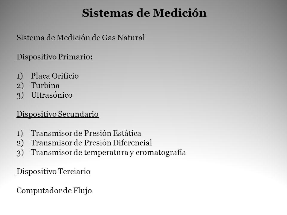 Sistemas de Medición Sistema de Medición de Gas Natural Dispositivo Primario: 1)Placa Orificio 2)Turbina 3)Ultrasónico Dispositivo Secundario 1)Transm