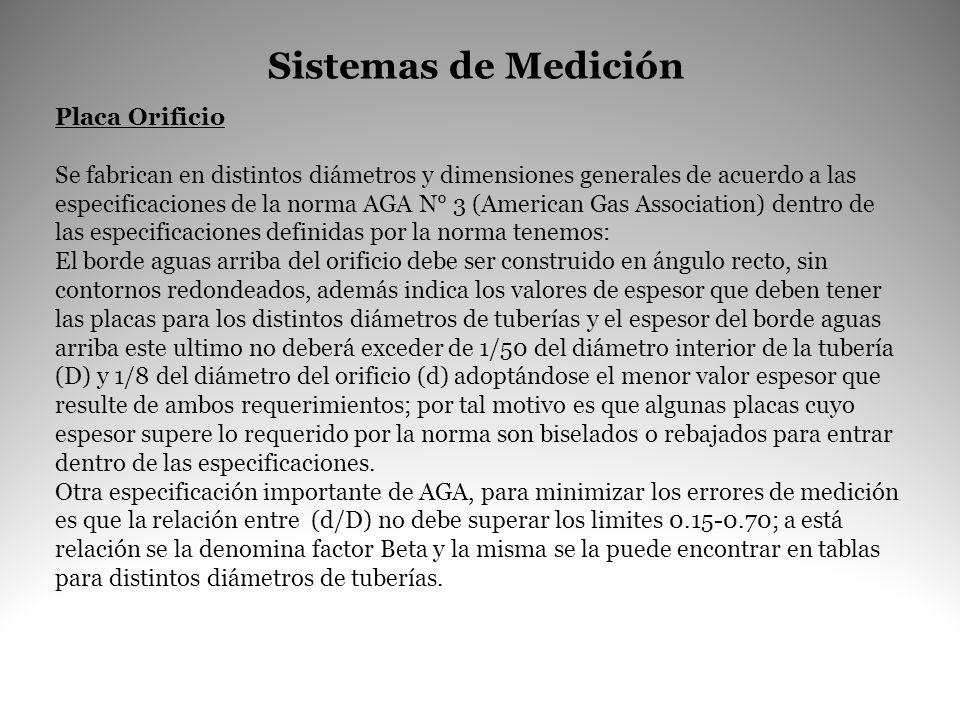 Sistemas de Medición Placa Orificio Se fabrican en distintos diámetros y dimensiones generales de acuerdo a las especificaciones de la norma AGA N° 3