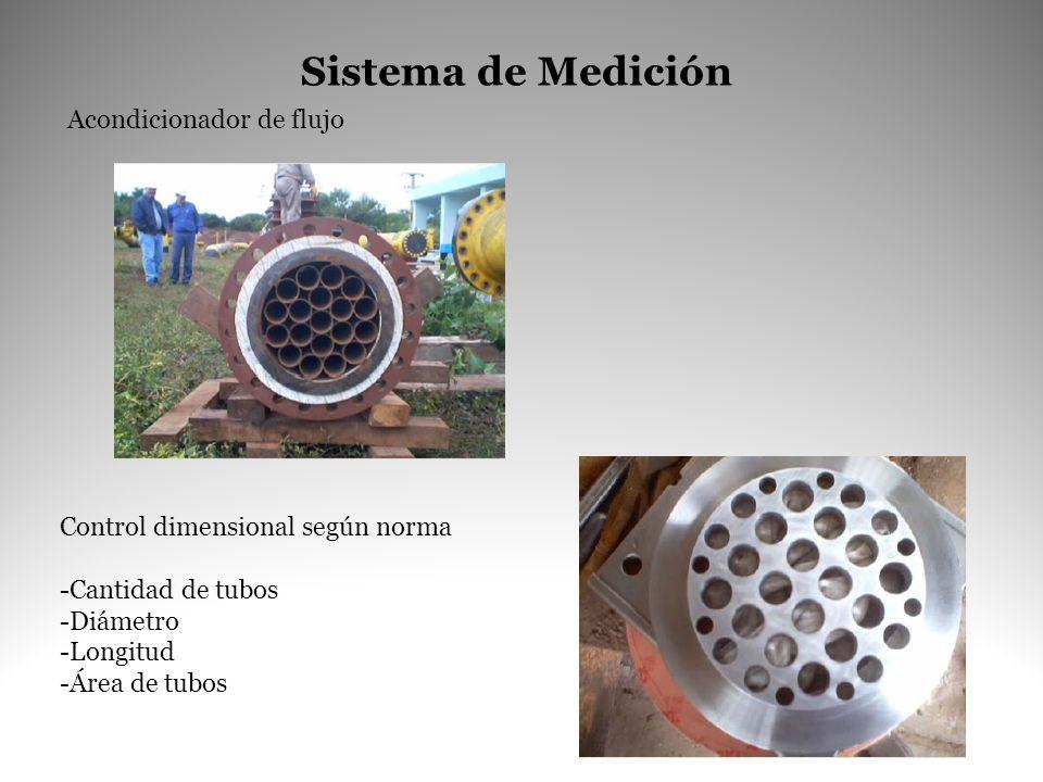 Acondicionador de flujo Control dimensional según norma -Cantidad de tubos -Diámetro -Longitud -Área de tubos Sistema de Medición