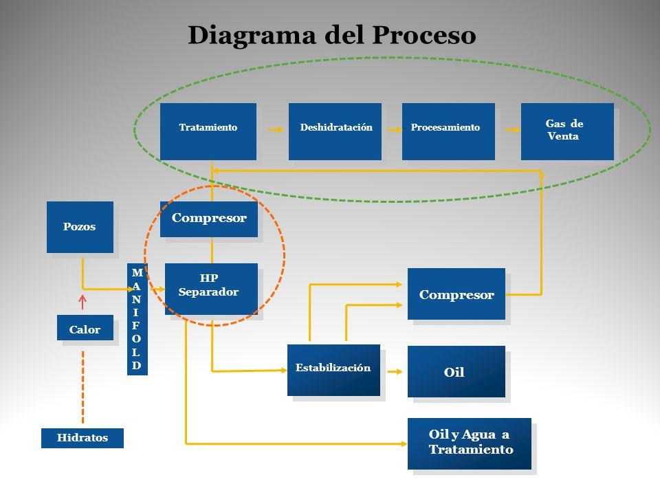 Diagrama del Proceso MANIFOLDMANIFOLD HP Separador Tratamiento Calor Deshidratación Procesamiento Gas de Venta Estabilización Oil Oil y Agua a Tratami