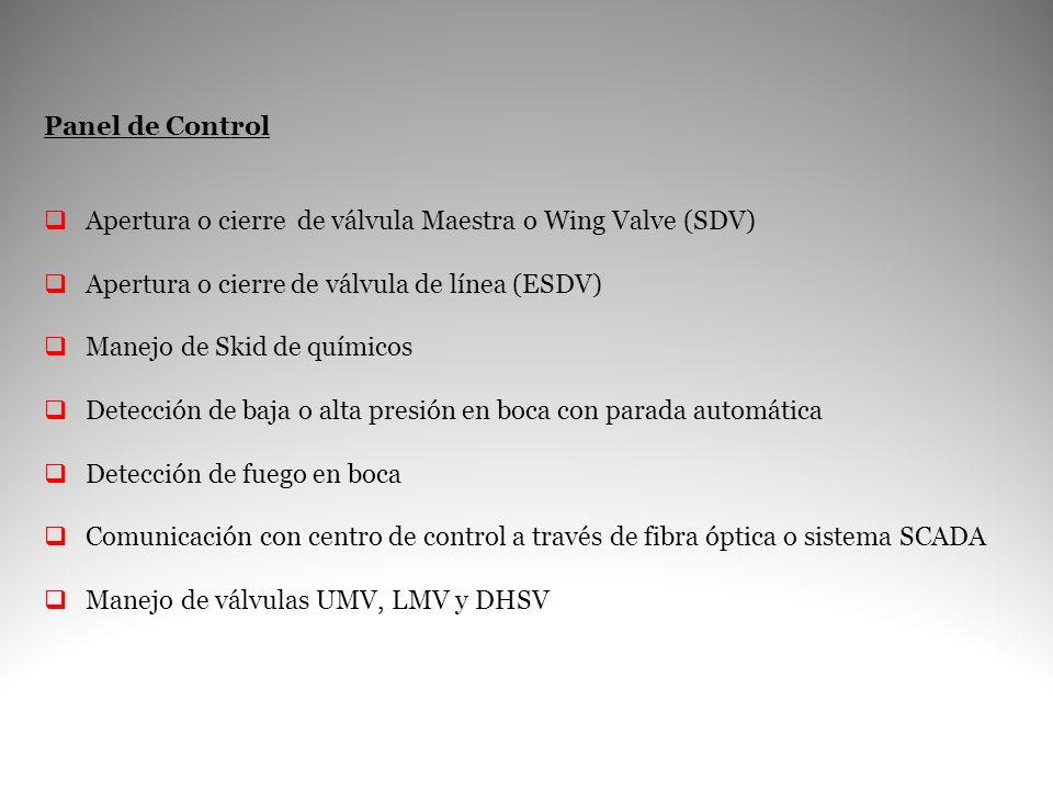 Panel de Control Apertura o cierre de válvula Maestra o Wing Valve (SDV) Apertura o cierre de válvula de línea (ESDV) Manejo de Skid de químicos Detec