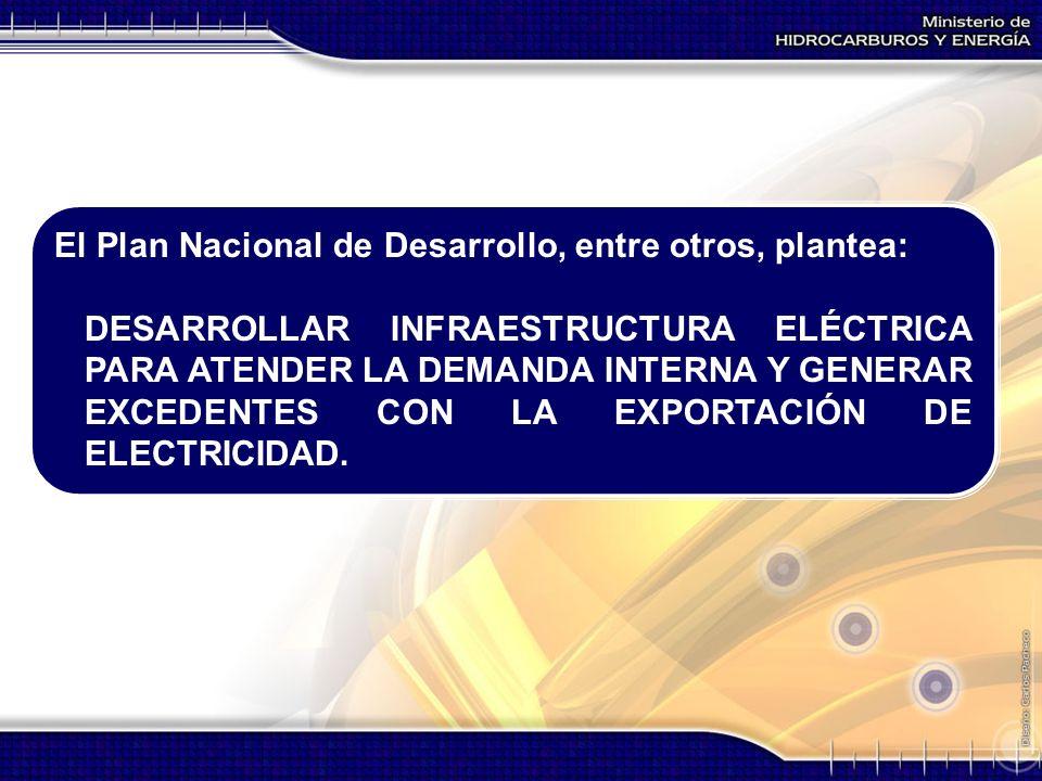 El Plan Nacional de Desarrollo, entre otros, plantea: DESARROLLAR INFRAESTRUCTURA ELÉCTRICA PARA ATENDER LA DEMANDA INTERNA Y GENERAR EXCEDENTES CON L