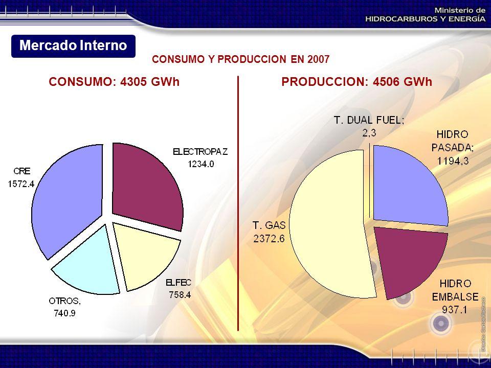 CONSUMO Y PRODUCCION EN 2007 PRODUCCION: 4506 GWhCONSUMO: 4305 GWh Mercado Interno