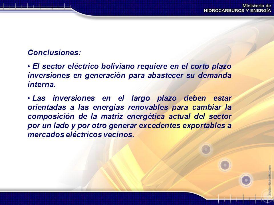 Conclusiones: El sector eléctrico boliviano requiere en el corto plazo inversiones en generación para abastecer su demanda interna. Las inversiones en