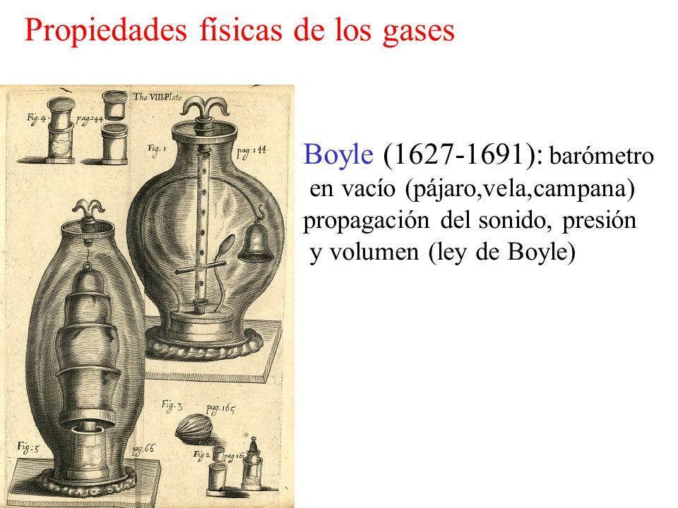 Boyle (1627-1691): barómetro en vacío (pájaro,vela,campana) propagación del sonido, presión y volumen (ley de Boyle) Propiedades físicas de los gases