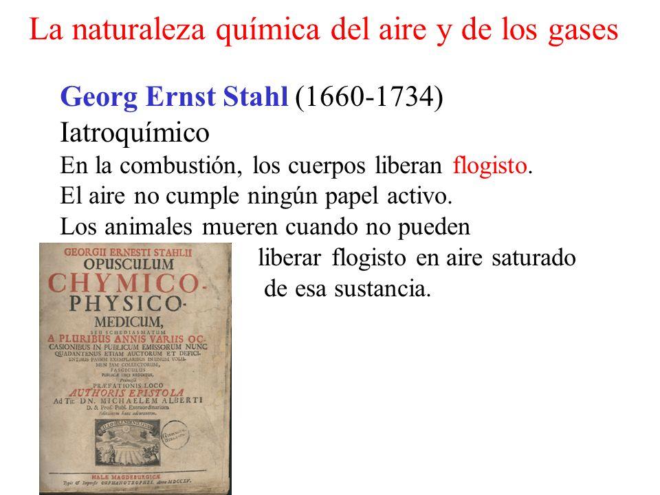 Georg Ernst Stahl (1660-1734) Iatroquímico En la combustión, los cuerpos liberan flogisto. El aire no cumple ningún papel activo. Los animales mueren