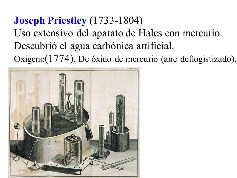 Joseph Priestley (1733-1804) Uso extensivo del aparato de Hales con mercurio. Descubrió el agua carbónica artificial. Oxígeno (1774). De óxido de merc
