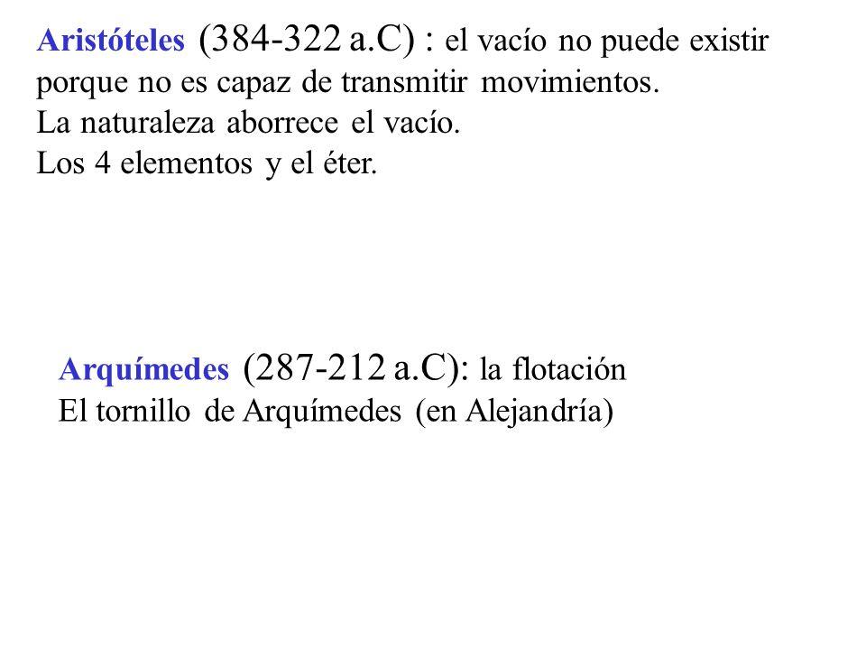 Aristóteles (384-322 a.C) : el vacío no puede existir porque no es capaz de transmitir movimientos. La naturaleza aborrece el vacío. Los 4 elementos y
