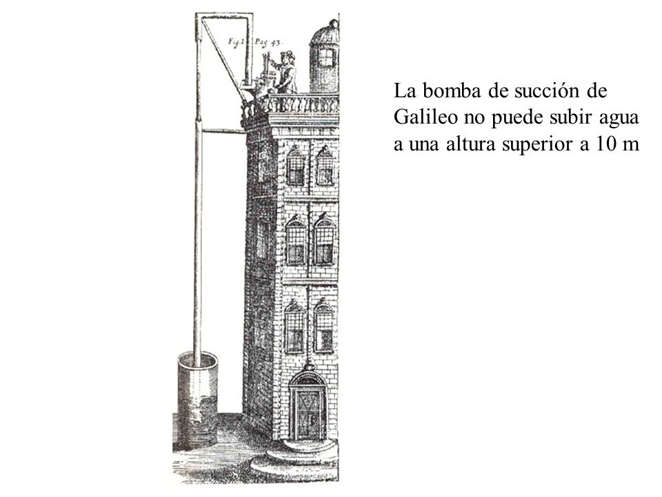 Presión atmosférica Mercurio Vacío Presión debida a la columna de mercurio EvangelistaTorricelli (1608-1647): barómetro de Torricelli presión del aire vacío artificial altura de la atmósfera