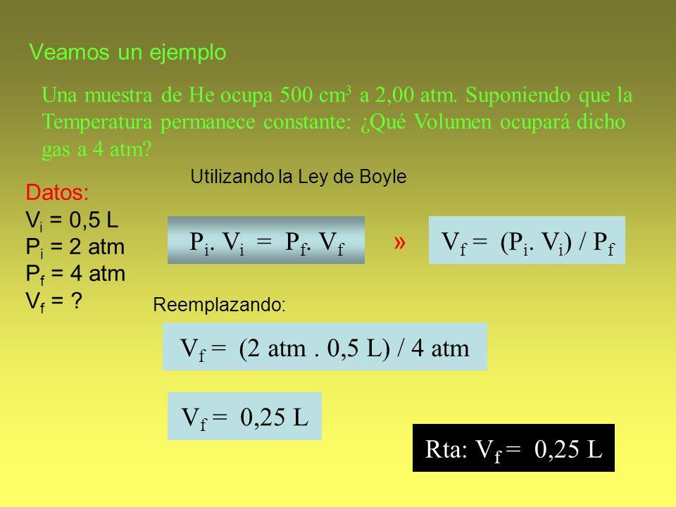 Veamos un ejemplo Una muestra de He ocupa 500 cm 3 a 2,00 atm. Suponiendo que la Temperatura permanece constante: ¿Qué Volumen ocupará dicho gas a 4 a