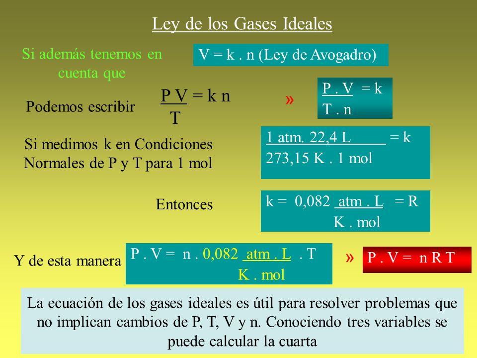 Ley de los Gases Ideales Si además tenemos en cuenta que V = k. n (Ley de Avogadro) Podemos escribir P V = k n T » P. V = k T. n Si medimos k en Condi