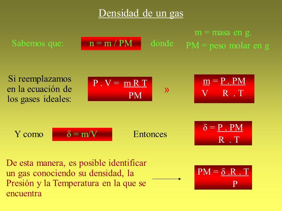 Densidad de un gas Sabemos que: n = m / PMdonde m = masa en g. PM = peso molar en g Si reemplazamos en la ecuación de los gases ideales: P. V = m R T