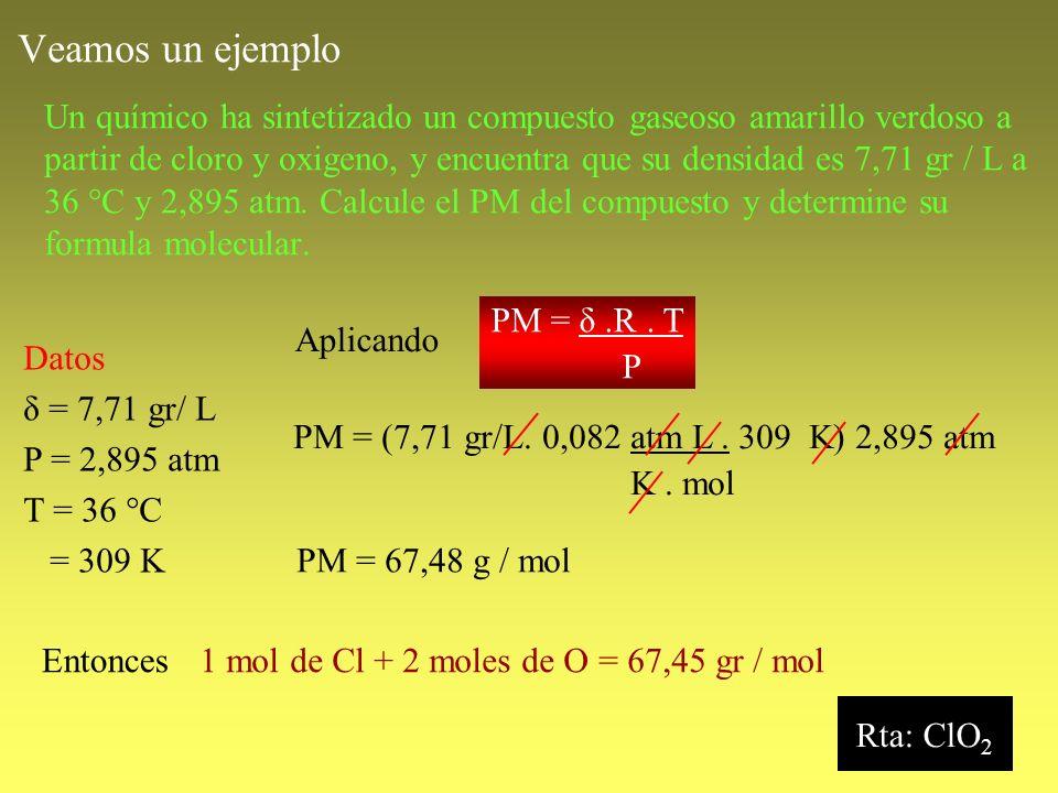 Veamos un ejemplo Un químico ha sintetizado un compuesto gaseoso amarillo verdoso a partir de cloro y oxigeno, y encuentra que su densidad es 7,71 gr