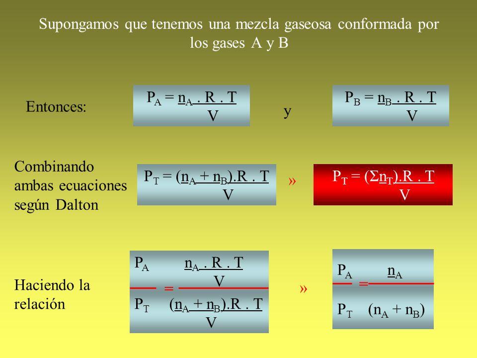 Supongamos que tenemos una mezcla gaseosa conformada por los gases A y B Entonces: P A = n A. R. T V P B = n B. R. T V y Combinando ambas ecuaciones s