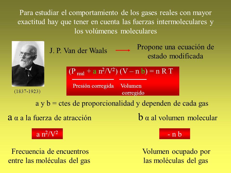 Para estudiar el comportamiento de los gases reales con mayor exactitud hay que tener en cuenta las fuerzas intermoleculares y los volúmenes molecular